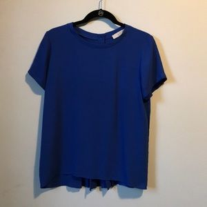 Blue blouse with back pleats